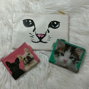 Set of coin purses & clutch w puppies and kittens